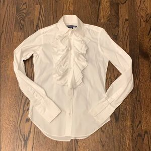 Ralph Lauren white ruffles shirt top blouse 6